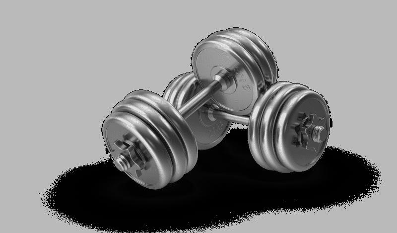 silver dumbbells